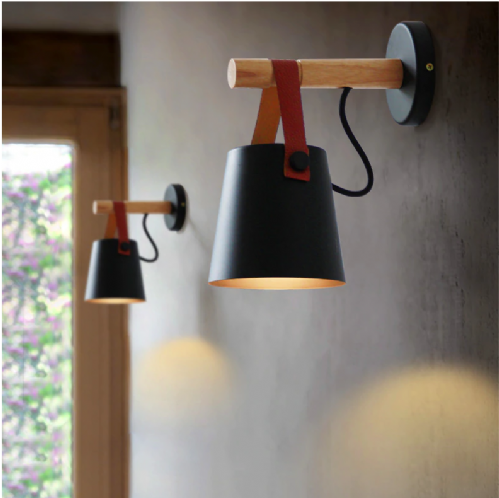Nordic Leather Strap Wooden LED Wall Light